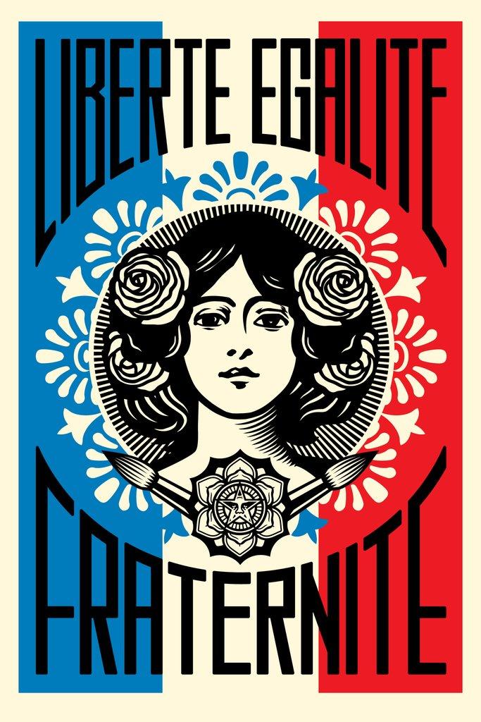 product obey shepard fairey liberte egalite fraternite poster signe 91x61cm